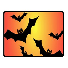 Bats Orange Halloween Illustration Clipart Fleece Blanket (small) by Jojostore