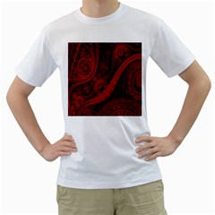 Batik Chevron Wave Free Red Men s T Shirt (white)  by Jojostore