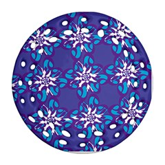 Analogous Blue Flower Ornament (round Filigree) by Jojostore