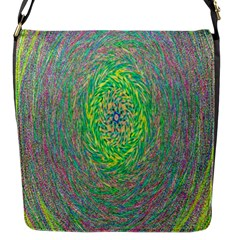 Abstraction Illusion Rotation Green Gray Flap Messenger Bag (s) by Jojostore