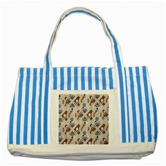 Brown Striped Blue Tote Bag by Jojostore