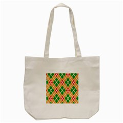 Chevron Wave Green Red Orange Line Tote Bag (cream)