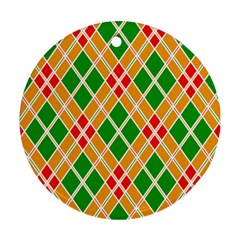 Chevron Wave Green Red Orange Line Round Ornament (two Sides) by Jojostore