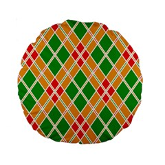 Chevron Wave Green Red Orange Line Standard 15  Premium Round Cushions by Jojostore