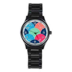 Diagonal Color Way Stainless Steel Round Watch by Jojostore
