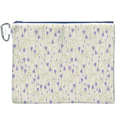 Flower Purple Canvas Cosmetic Bag (xxxl) by Jojostore