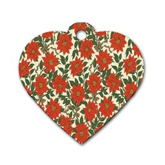 Flower Dog Tag Heart (two Sides) by Jojostore