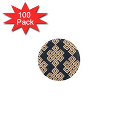 Geometric Cut Velvet Drapery Upholstery Fabric 1  Mini Magnets (100 Pack)  by Jojostore