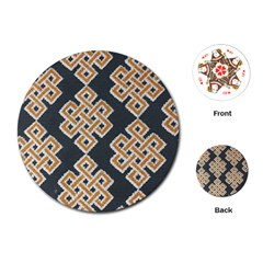Geometric Cut Velvet Drapery Upholstery Fabric Playing Cards (round)  by Jojostore