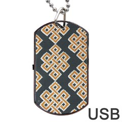 Geometric Cut Velvet Drapery Upholstery Fabric Dog Tag Usb Flash (one Side) by Jojostore