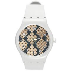 Geometric Cut Velvet Drapery Upholstery Fabric Round Plastic Sport Watch (m) by Jojostore