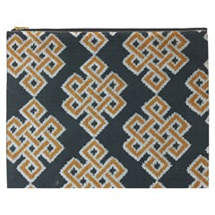 Geometric Cut Velvet Drapery Upholstery Fabric Cosmetic Bag (xxxl)  by Jojostore