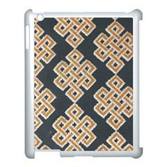 Geometric Cut Velvet Drapery Upholstery Fabric Apple Ipad 3/4 Case (white) by Jojostore