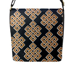 Geometric Cut Velvet Drapery Upholstery Fabric Flap Messenger Bag (l)  by Jojostore