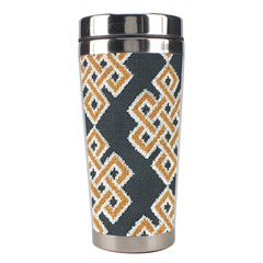 Geometric Cut Velvet Drapery Upholstery Fabric Stainless Steel Travel Tumblers by Jojostore