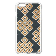 Geometric Cut Velvet Drapery Upholstery Fabric Apple Iphone 6 Plus/6s Plus Enamel White Case by Jojostore
