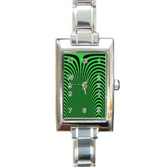 Green Optical Illusion Rectangle Italian Charm Watch by Jojostore