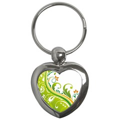 Leaf Flower Green Floral Key Chains (heart)  by Jojostore