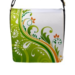 Leaf Flower Green Floral Flap Messenger Bag (l)  by Jojostore