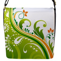 Leaf Flower Green Floral Flap Messenger Bag (s) by Jojostore