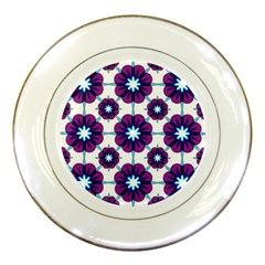 Link Scheme Analogous Purple Flower Porcelain Plates by Jojostore