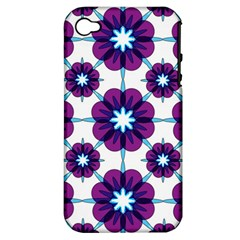Link Scheme Analogous Purple Flower Apple Iphone 4/4s Hardshell Case (pc+silicone) by Jojostore