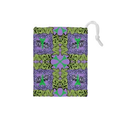 Paris Eiffel Tower Purple Green Drawstring Pouches (small)  by Jojostore