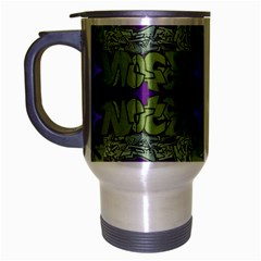Paris Eiffel Tower Green Purple Travel Mug (silver Gray) by Jojostore