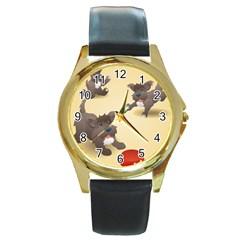 Puppy Dog Round Gold Metal Watch by Jojostore