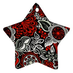 Red Batik Flower Star Ornament (two Sides) by Jojostore