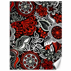 Red Batik Flower Canvas 36  X 48   by Jojostore