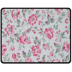 Rose Red Flower Double Sided Fleece Blanket (medium)  by Jojostore