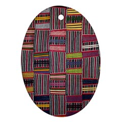 Strip Woven Cloth Color Ornament (oval) by Jojostore