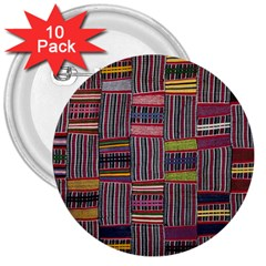Strip Woven Cloth Color 3  Buttons (10 Pack)  by Jojostore