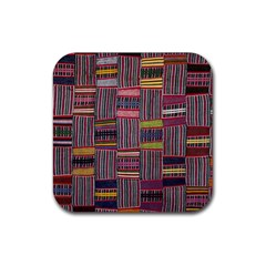 Strip Woven Cloth Color Rubber Coaster (square)  by Jojostore