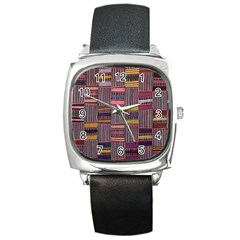 Strip Woven Cloth Color Square Metal Watch by Jojostore