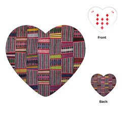 Strip Woven Cloth Color Playing Cards (heart)  by Jojostore