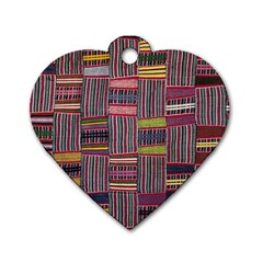 Strip Woven Cloth Color Dog Tag Heart (two Sides) by Jojostore