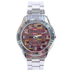 Strip Woven Cloth Color Stainless Steel Analogue Watch by Jojostore
