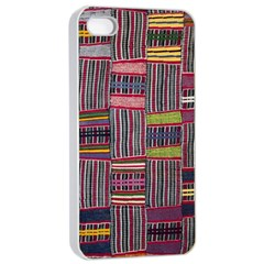 Strip Woven Cloth Color Apple Iphone 4/4s Seamless Case (white) by Jojostore