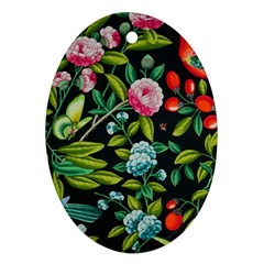 Tropical And Tropical Leaves Bird Ornament (oval)