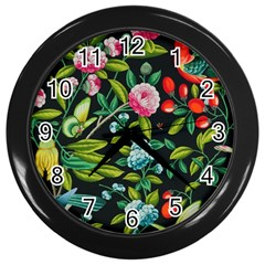 Tropical And Tropical Leaves Bird Wall Clocks (black) by Jojostore