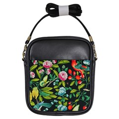 Tropical And Tropical Leaves Bird Girls Sling Bags by Jojostore