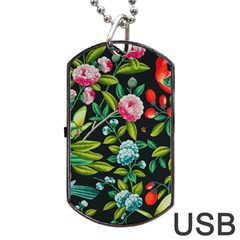 Tropical And Tropical Leaves Bird Dog Tag Usb Flash (one Side) by Jojostore