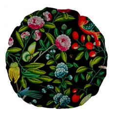 Tropical And Tropical Leaves Bird Large 18  Premium Round Cushions by Jojostore