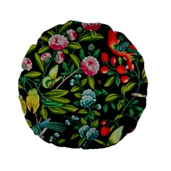 Tropical And Tropical Leaves Bird Standard 15  Premium Flano Round Cushions by Jojostore