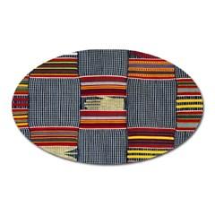 Strip Woven Cloth Oval Magnet by Jojostore
