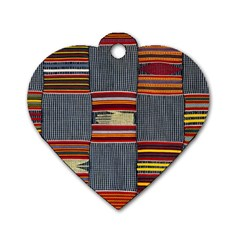 Strip Woven Cloth Dog Tag Heart (two Sides) by Jojostore
