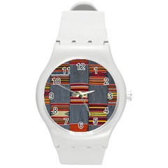 Strip Woven Cloth Round Plastic Sport Watch (m) by Jojostore