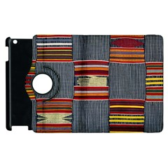 Strip Woven Cloth Apple Ipad 3/4 Flip 360 Case by Jojostore